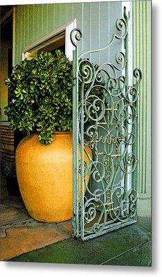 Fancy Gate And Plain Pot Metal Print by Ben and Raisa Gertsberg