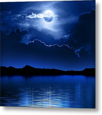 Fantasy Moon And Clouds Over Water Metal Print by Johan Swanepoel