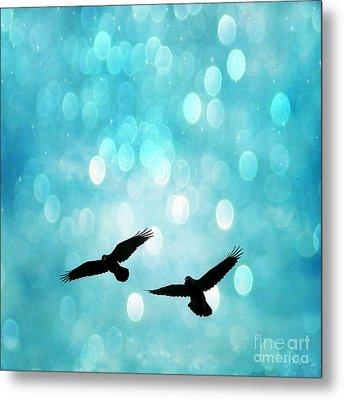 Fantasy Surreal Ravens Flying - Aquamarine Blue Bokeh Sparkling Lights Metal Print by Kathy Fornal