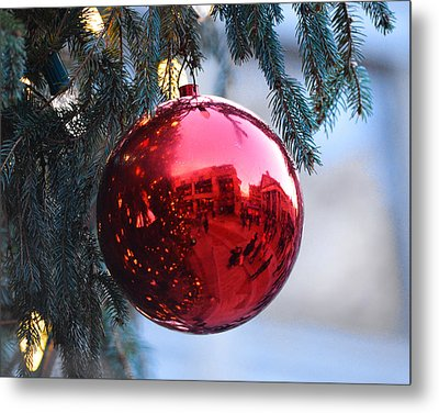 Faneuil Hall Christmas Tree Ornament Metal Print by Toby McGuire