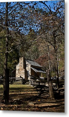 Farm Cabin Cades Cove Tennessee Metal Print by Douglas Barnett