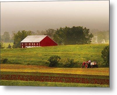 Farm - Farmer - Tilling The Fields Metal Print by Mike Savad