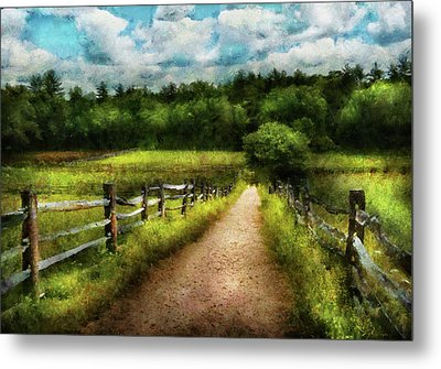 Farm - Fence - Every Journey Starts With A Path  Metal Print by Mike Savad