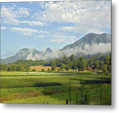 Farm In The Valley Metal Print by Susan Leggett