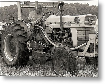 Farmer And His Tractor Metal Print by Kathleen Struckle