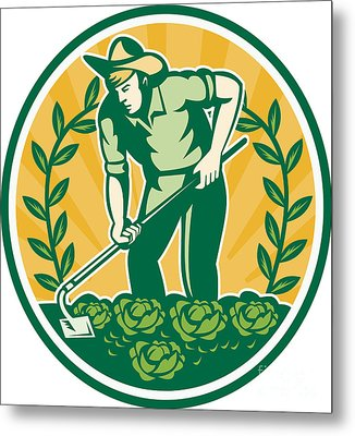 Farmer Gardener With Garden Hoe Cabbage Metal Print by Aloysius Patrimonio
