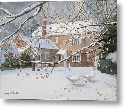 Farmhouse In The Snow Metal Print by Lucy Willis