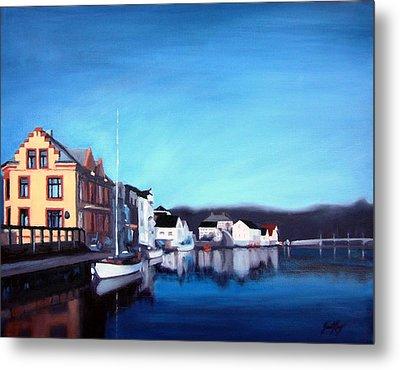 Farsund Dock Scene I Metal Print by Janet King