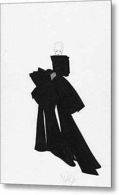 Fashion Art Black Bow Dress Illustration Metal Print by Alex Newton