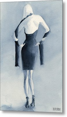 Fashion Illustration Art Print Woman In Blue Dress Back Metal Print by Beverly Brown