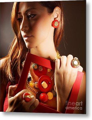 Fashionable Girl Portrait Metal Print by Anna Omelchenko