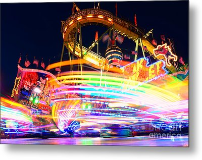 Fast Ride At The Octoberfest In Munich Metal Print by Sabine Jacobs