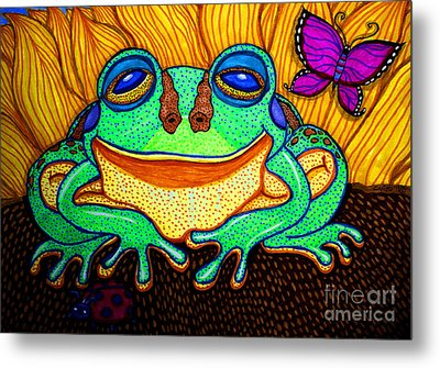 Fat Green Frog On A Sunflower Metal Print by Nick Gustafson