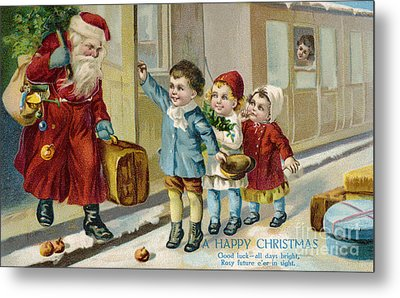 Father Christmas Disembarking Train Metal Print by Mary Evans