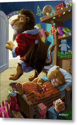 Father Christmas Lion Delivering Presents Metal Print by Martin Davey