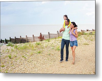 Father Giving Daughter Piggyback Metal Print by Ian Hooton