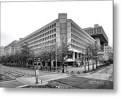 Fbi Building Front View Metal Print by Olivier Le Queinec