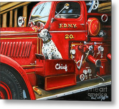 Fdny Chief Metal Print by Paul Walsh