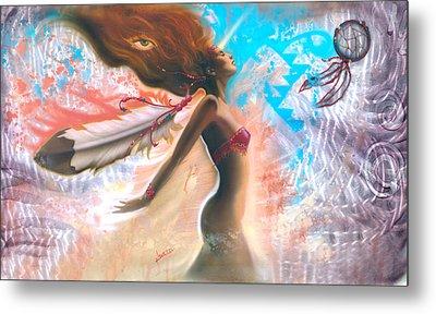 Feather Girl 1 Metal Print by Luis  Navarro