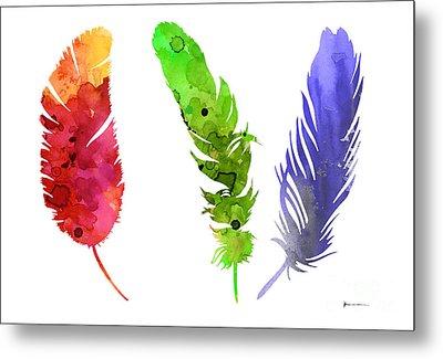 Feathers Silhouette Painting Watercolor Art Print Metal Print by Joanna Szmerdt