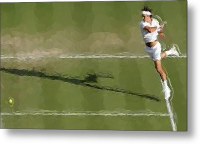 Federer Passing Shot Metal Print by Brian Menasco