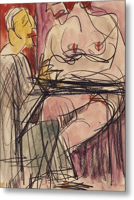 Female Nude And Man Sitting At A Table Metal Print by Ernst Ludwig Kirchner