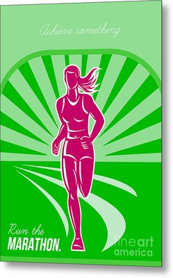 Female Run Marathon Retro Poster Metal Print by Aloysius Patrimonio