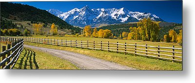 Fence Along A Road, Sneffels Range Metal Print by Panoramic Images
