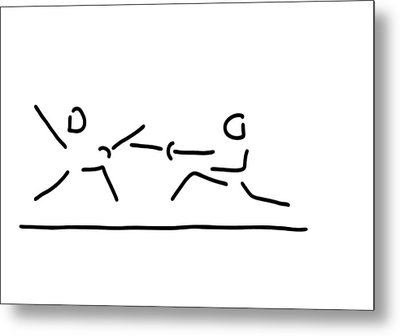 Fence Fight Saber Fencer Sword Metal Print by Lineamentum