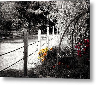 Fence Near The Garden Metal Print by Julie Hamilton