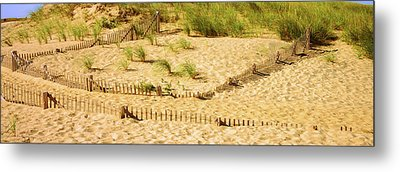 Fence On The Beach, Cape Cod Metal Print by Panoramic Images