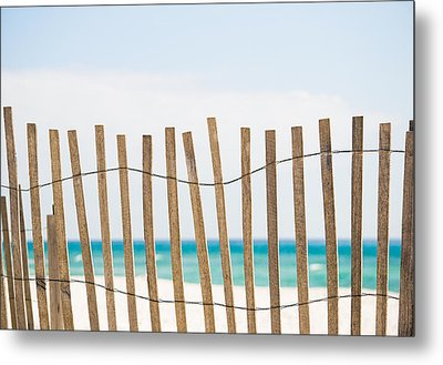 Fence On The Beach Metal Print by Shelby  Young