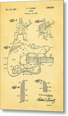 Fender Jazzmaster Guitar Patent Art 1960  Metal Print by Ian Monk