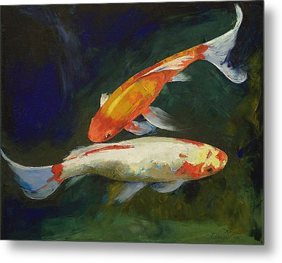 Feng Shui Koi Fish Metal Print by Michael Creese