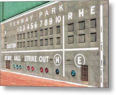 Fenway Park Scoreboard Metal Print by Susan Candelario