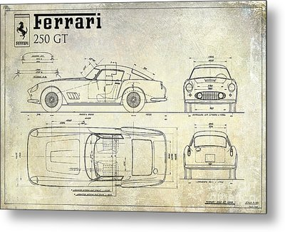 Ferrari 250 Gt Blueprint Antique Metal Print by Jon Neidert