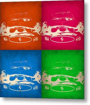 Ferrari Front Pop Art 4 Metal Print by Naxart Studio