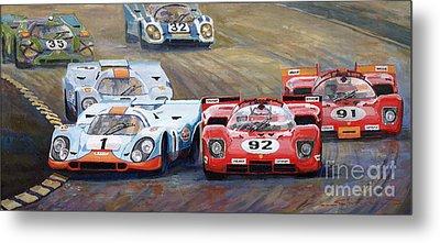 Ferrari Vs Porsche 1970 Watkins Glen 6 Hours Metal Print by Yuriy  Shevchuk