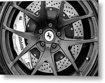 Ferrari Wheel Emblem - Brake Emblem -0430bw Metal Print by Jill Reger
