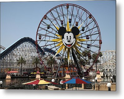 Ferris Wheel And Roller Coaster - Paradise Pier - Disney California Adventure - Anaheim California - Metal Print by Wingsdomain Art and Photography
