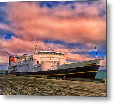 Ferry Dockside At Cold Bay Metal Print by Michael Pickett