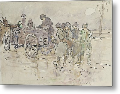 Field Kitchen On The Road To Belfort Metal Print by Louis Robert Antral