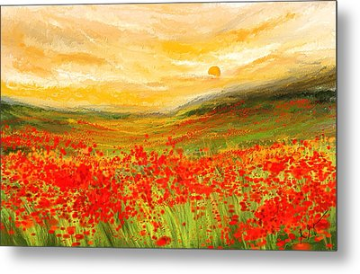 Field Of Poppies- Field Of Poppies Impressionist Painting Metal Print by Lourry Legarde