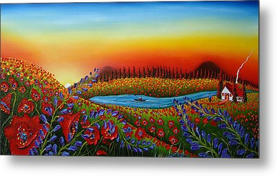 Field Of Red Poppies At Dusk 2 Metal Print by Portland Art Creations