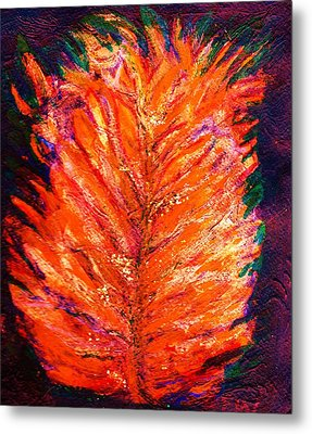 Fiery Leaf Metal Print by Anne-Elizabeth Whiteway