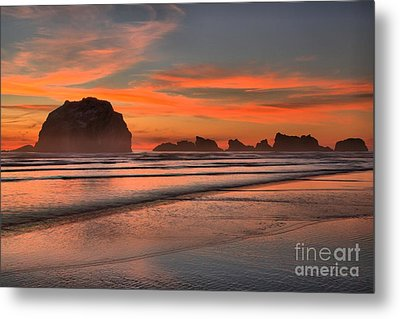 Fiery Ripples In The Surf Metal Print by Adam Jewell