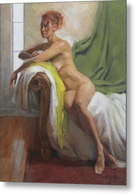 Figure With Chartreuse Scarf Metal Print by Anna Rose Bain