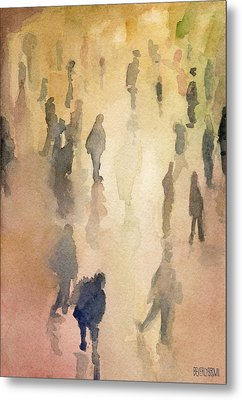 Figures Grand Central Station Watercolor Painting Of Nyc Metal Print by Beverly Brown Prints