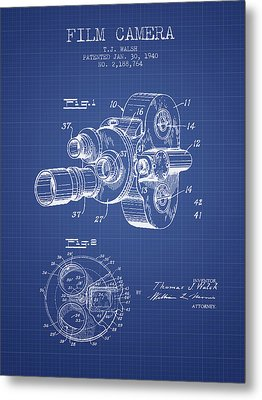 Film Camera Patent From 1940 - Blueprint Metal Print by Aged Pixel