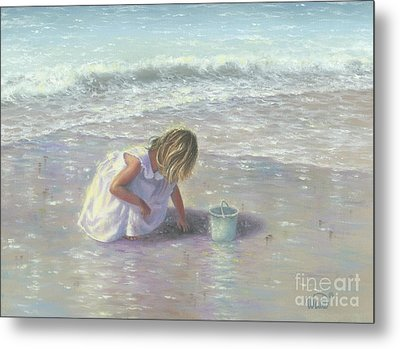 Finding Sea Glass Metal Print by Vickie Wade